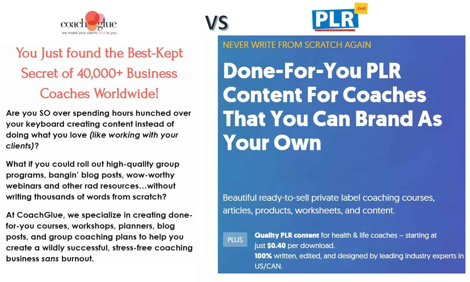 PLR.me vs Coach Glue